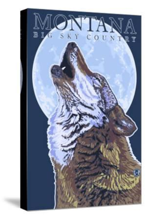Montana -- Big Sky Country - Howling Wolf-Lantern Press-Stretched Canvas Print