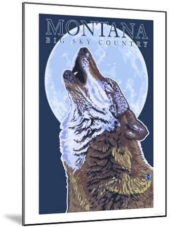 Montana -- Big Sky Country - Howling Wolf-Lantern Press-Mounted Art Print