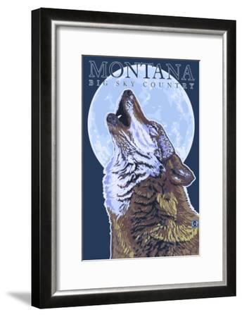 Montana -- Big Sky Country - Howling Wolf-Lantern Press-Framed Art Print