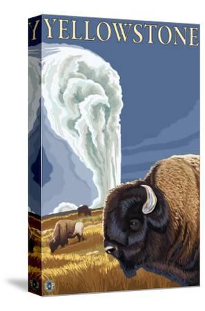 Yellowstone - Bison with Old Faithful-Lantern Press-Stretched Canvas Print