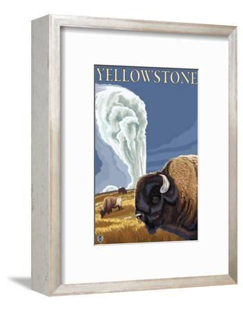 Yellowstone - Bison with Old Faithful-Lantern Press-Framed Art Print