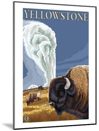 Yellowstone - Bison with Old Faithful-Lantern Press-Mounted Art Print
