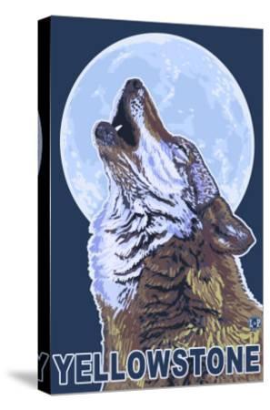 Yellowstone - Howling Wolf-Lantern Press-Stretched Canvas Print