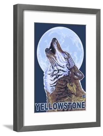 Yellowstone - Howling Wolf-Lantern Press-Framed Art Print