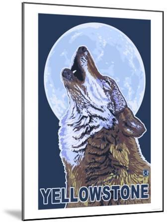 Yellowstone - Howling Wolf-Lantern Press-Mounted Art Print
