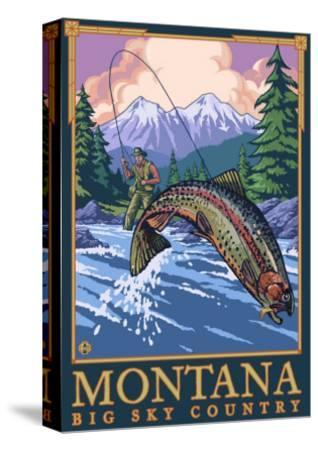 Montana -- Big Sky Country - Fly Fishing Scene-Lantern Press-Stretched Canvas Print
