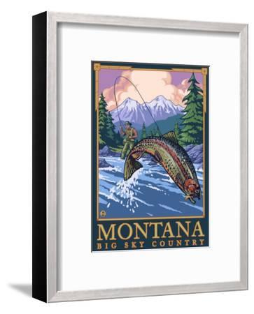 Montana -- Big Sky Country - Fly Fishing Scene-Lantern Press-Framed Art Print