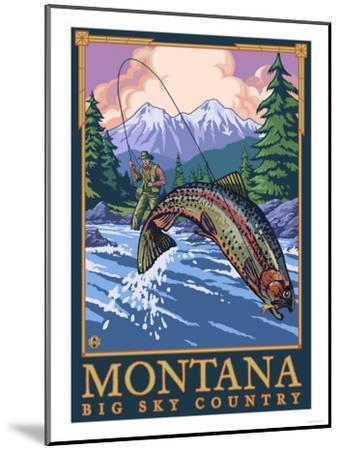 Montana -- Big Sky Country - Fly Fishing Scene-Lantern Press-Mounted Art Print