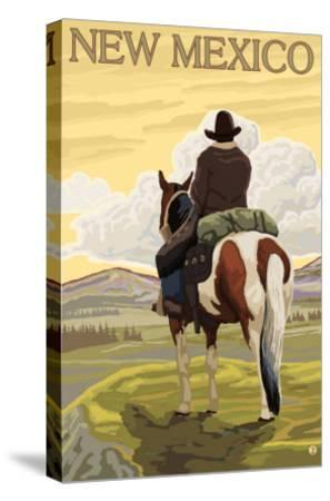 Cowboy - New Mexico-Lantern Press-Stretched Canvas Print