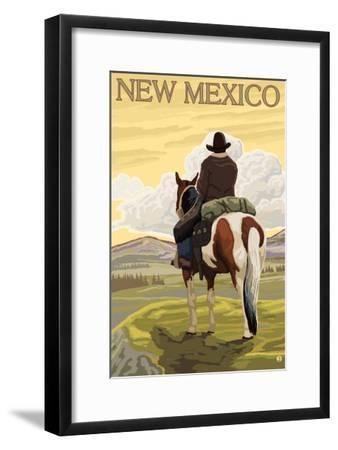 Cowboy - New Mexico-Lantern Press-Framed Art Print