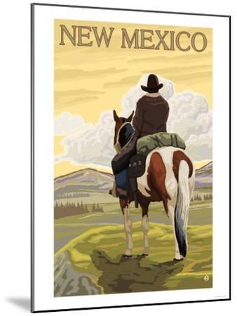 Cowboy - New Mexico-Lantern Press-Mounted Art Print