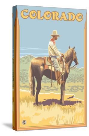 Cowboy - Colorado-Lantern Press-Stretched Canvas Print