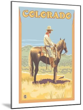 Cowboy - Colorado-Lantern Press-Mounted Art Print