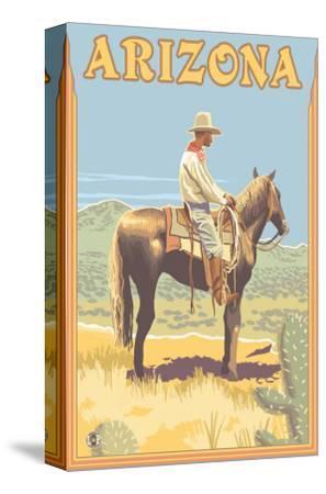 Cowboy - Arizona-Lantern Press-Stretched Canvas Print