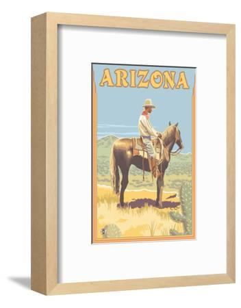 Cowboy - Arizona-Lantern Press-Framed Art Print