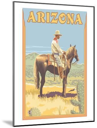 Cowboy - Arizona-Lantern Press-Mounted Art Print