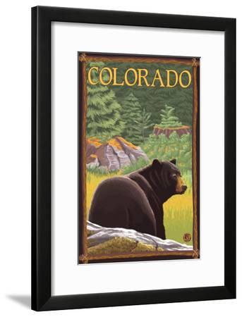 Black Bear in Forest - Colorado-Lantern Press-Framed Art Print