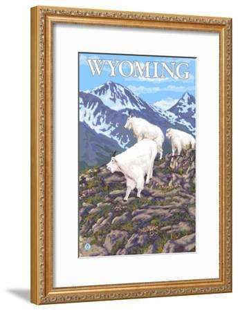 White Mountain Goat Family - Wyoming-Lantern Press-Framed Art Print
