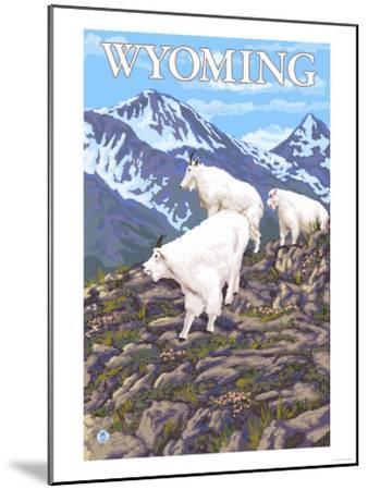 White Mountain Goat Family - Wyoming-Lantern Press-Mounted Art Print