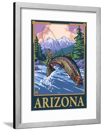 Fly Fishing Scene - Arizona-Lantern Press-Framed Art Print