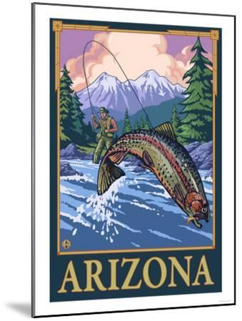 Fly Fishing Scene - Arizona-Lantern Press-Mounted Art Print
