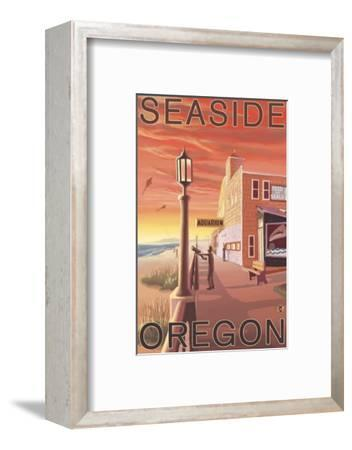 Seaside, Oregon - Aquarium View-Lantern Press-Framed Art Print