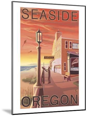 Seaside, Oregon - Aquarium View-Lantern Press-Mounted Art Print