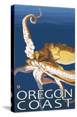 Oregon Coast Octopus-Lantern Press-Stretched Canvas Print