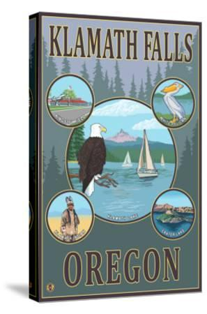 Klamath Falls, Oregon - Scenic Travel Poster-Lantern Press-Stretched Canvas Print
