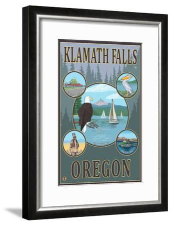Klamath Falls, Oregon - Scenic Travel Poster-Lantern Press-Framed Art Print