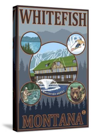 Whitefish, Montana - Scenic Travel Poster-Lantern Press-Stretched Canvas Print