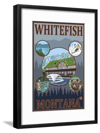 Whitefish, Montana - Scenic Travel Poster-Lantern Press-Framed Art Print