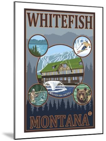 Whitefish, Montana - Scenic Travel Poster-Lantern Press-Mounted Art Print