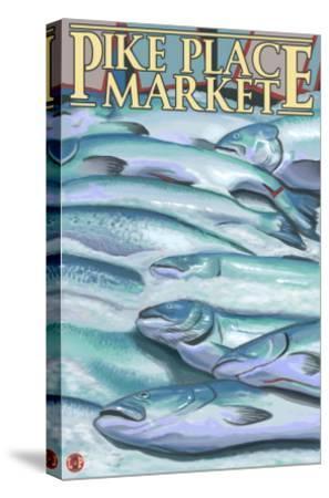 Seattle, Washington - Fish on Ice at Pike Place Market-Lantern Press-Stretched Canvas Print
