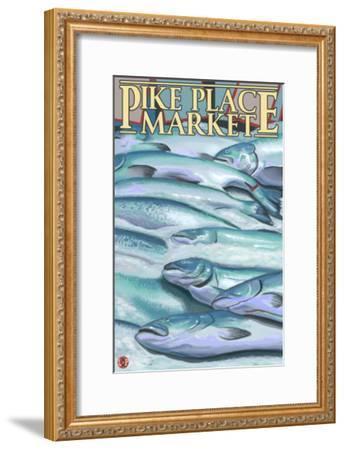 Seattle, Washington - Fish on Ice at Pike Place Market-Lantern Press-Framed Art Print