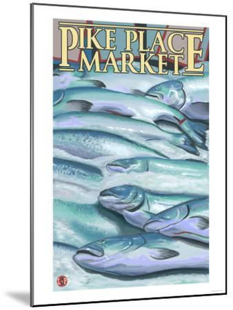 Seattle, Washington - Fish on Ice at Pike Place Market-Lantern Press-Mounted Art Print