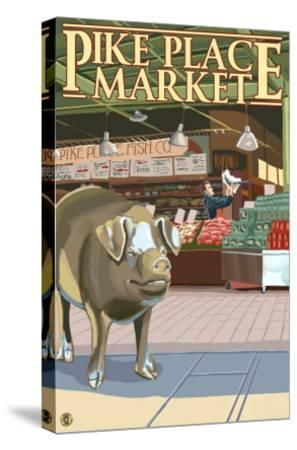 Seattle, Washington - Fish Toss and Bronze Pig at Pike Place-Lantern Press-Stretched Canvas Print