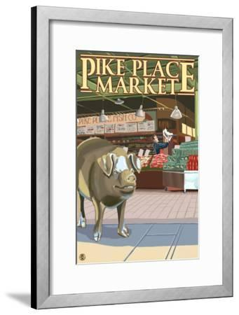Seattle, Washington - Fish Toss and Bronze Pig at Pike Place-Lantern Press-Framed Art Print