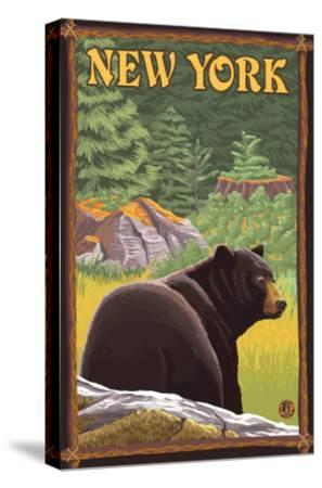 New York - Black Bear in Forest-Lantern Press-Stretched Canvas Print