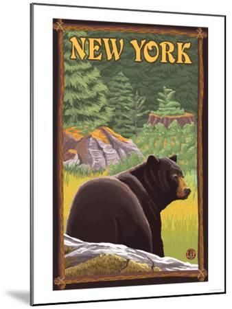 New York - Black Bear in Forest-Lantern Press-Mounted Art Print