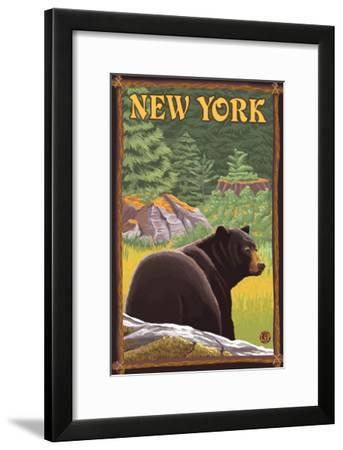 New York - Black Bear in Forest-Lantern Press-Framed Art Print