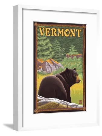 Vermont - Black Bear in Forest-Lantern Press-Framed Art Print