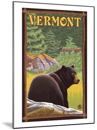 Vermont - Black Bear in Forest-Lantern Press-Mounted Art Print