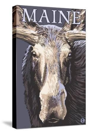 Maine - Moose Up Close-Lantern Press-Stretched Canvas Print
