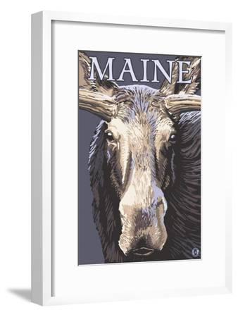 Maine - Moose Up Close-Lantern Press-Framed Art Print