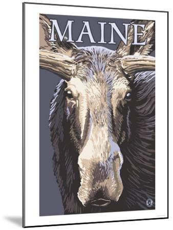 Maine - Moose Up Close-Lantern Press-Mounted Art Print