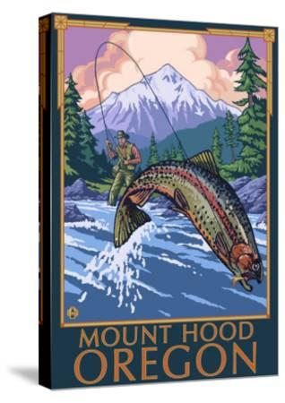 Mount Hood, Oregon - Fisherman Scene-Lantern Press-Stretched Canvas Print