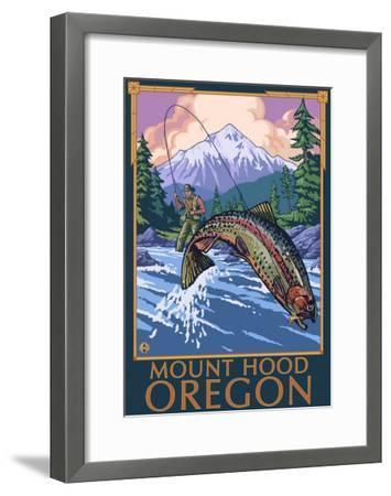 Mount Hood, Oregon - Fisherman Scene-Lantern Press-Framed Art Print
