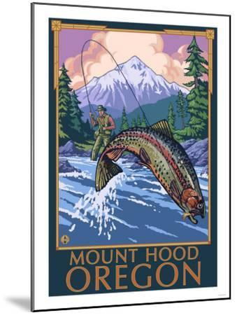 Mount Hood, Oregon - Fisherman Scene-Lantern Press-Mounted Art Print