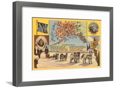 Alaska Map with Sled Dogs--Framed Art Print